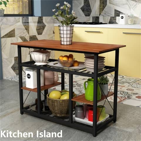 [Pre-Sale]Counter Height Kitchen Island Rack with Large Worktop,Brown