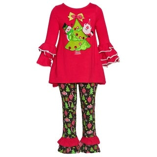 Rare Editions Little Girls Red Christmas Tree Flared Cuff 2 Pc Pant Set