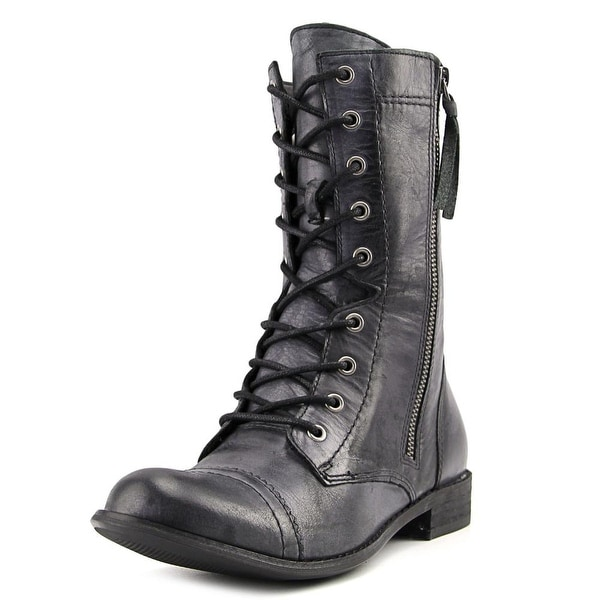 ShoeMint Nadia Round Toe Leather Mid Calf Boot