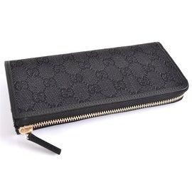 GUCCI WOMEN'S 268917 BLACK DENIM GG GUCCISSIMA ZIP AROUND CLUTCH WALLET