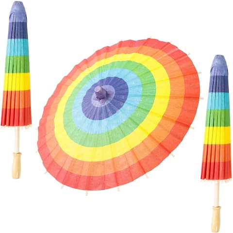"""3 Pack 11.5"""" Rainbow Paper Parasol Umbrellas for DIY Crafts and Kids Projects - Red"""