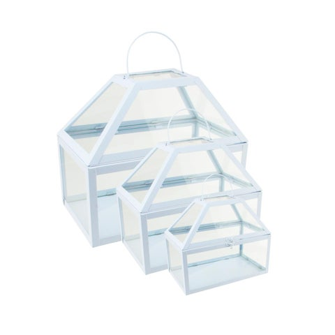 "Set of 3 Light Powder Blue Metal and Glass Paneled Nesting Outdoor Greenhouse Terrariums 8.25""-12"""