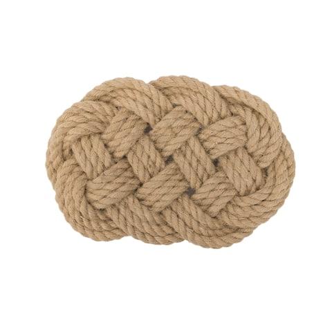 Natural Fiber Nautical Rope Knot Oblong Trivet - 0.5 X 11.25 X 7.25 inches