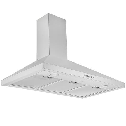 Ancona 36 in. Convertible Wall Mount Pyramid Range Hood in Stainless Steel