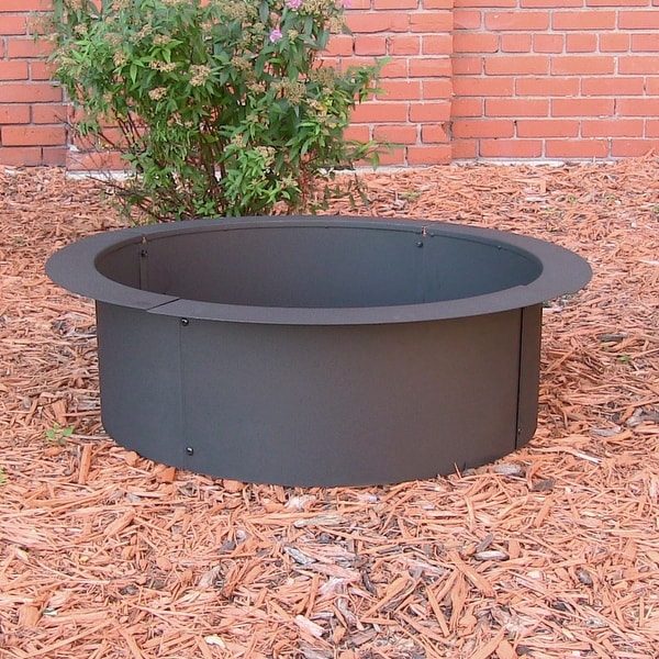 Sunnydaze Heavy Duty Fire Pit Rim, Make Your Own In-Ground Fire Pit - Black