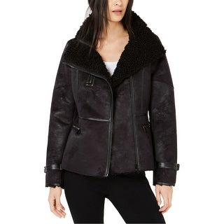 Link to Calvin Klein Womens Sherling Moto Jacket, black, Large Similar Items in Women's Outerwear