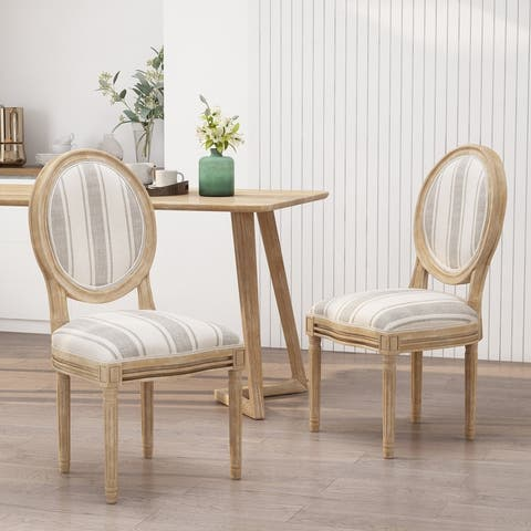Phinnaeus French Country Fabric Dining Chairs (Set of 2) by Christopher Knight Home