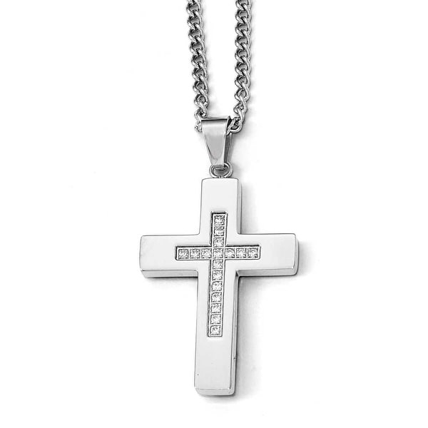 Chisel Stainless Steel Polished CZ Cross Necklace - 24 in