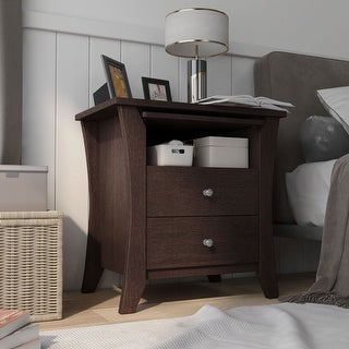 Link to Furniture of America Mendolla Modern Espresso 2-drawer Nightstand Similar Items in Bedroom Furniture