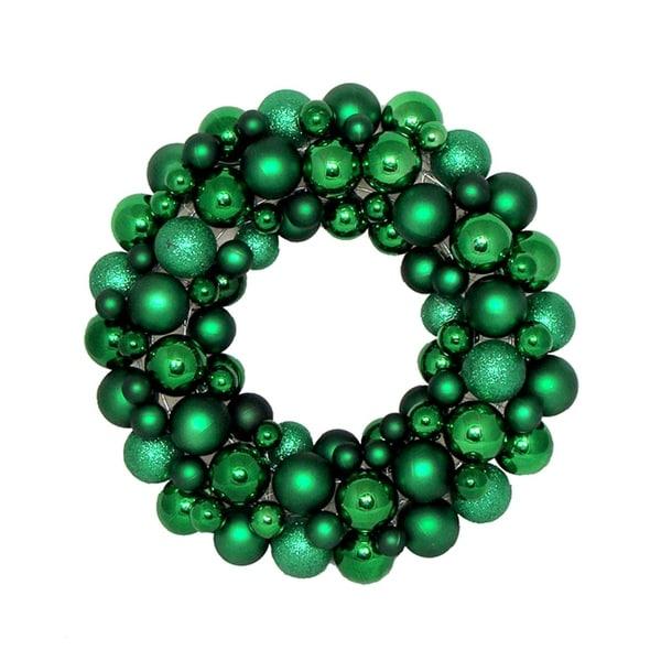"24"" Xmas Green Shatterproof Christmas Ball Ornament Wreath - Unlit"