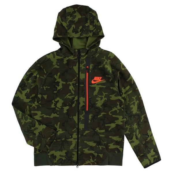 25ad29ba5e7c Shop Nike Boys Tech Fleece Allover Camo Print Full Zip Hoodie Army Green -  army green black orange brown - Free Shipping Today - Overstock - 22694069