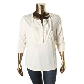 Lauren Ralph Lauren Womens Plus Henley Top Pintuck-Bib Cotton