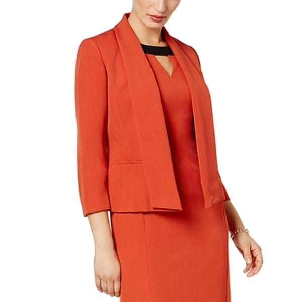 Kasper Cinnabar Orange Womens Size 16 Open-Front Crepe Blazer Jacket