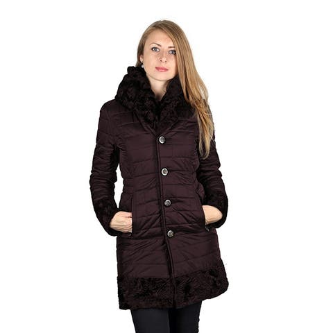 Laundry by Shelli Segal Womans Plum Reversible 3/4 Coat Hooded