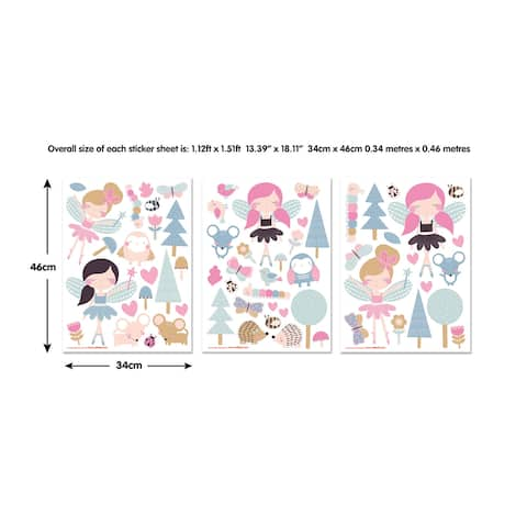 Brewster WT44944 63 Piece Vinyl Woodland Fairies & Friends Wall Stickers -