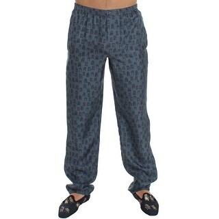 Dolce & Gabbana Dolce & Gabbana Blue SILK Pajama Lounge Pants Trousers Sleepwear