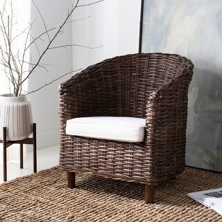 """Link to Safavieh Omni Rattan Barrel Chair with Cushion - 29.1"""" x 27.2"""" x 32.7"""" Similar Items in Living Room Chairs"""