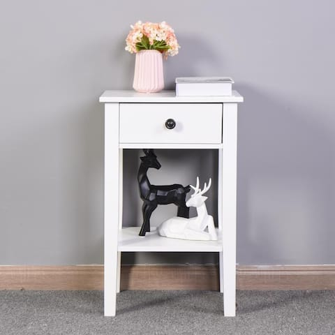 Modern White Nightstand Storage Table with a Drawer