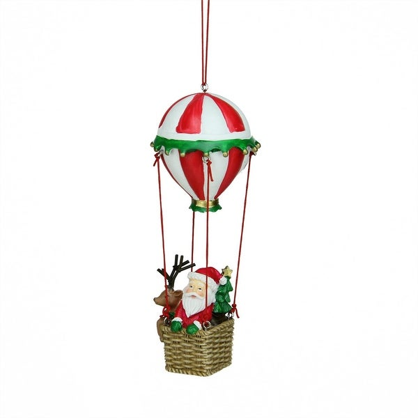 "6"" Santa and Reindeer in Red and White Striped Hot Air Balloon Christmas Ornament"