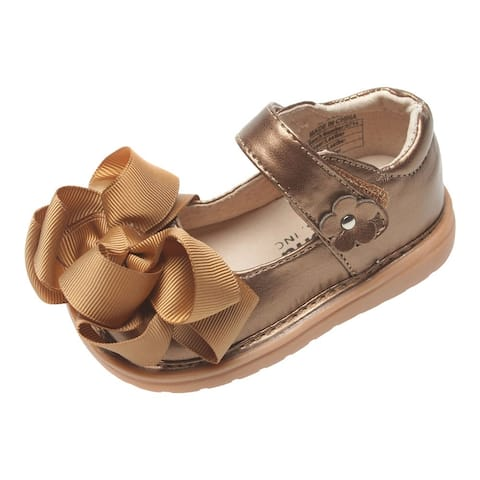 Mooshu Trainers Little Girls Bronze Bow Squeaky Mary Jane Shoes