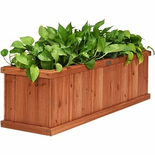 "3' x 3"" Wooden Decorative Planter Box for Garden Yard and Window - Brown"
