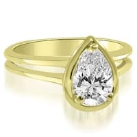 0.50 cttw. 14K Yellow Gold Split Shank Pear Cut Halo Diamond Engagement Ring