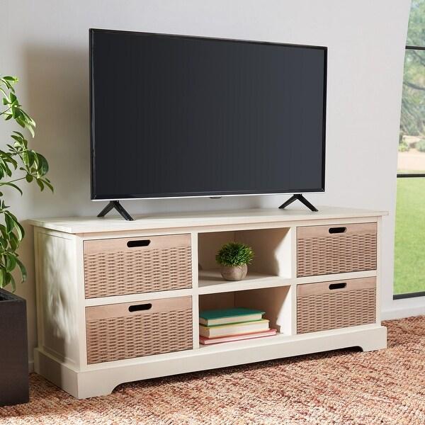 "Safavieh Landers 47-inch Storage Media TV Stand - 47.3"" W x 15.8"" L x 20"" H. Opens flyout."