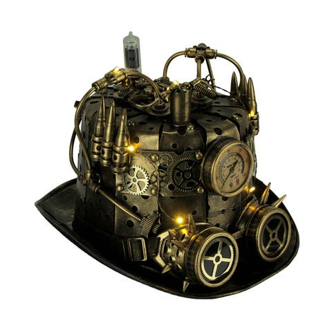 LED Light Up Steampunk Top Hat with Pressure Gauge and Goggles - 8.75 X 9.5 X 8 inches