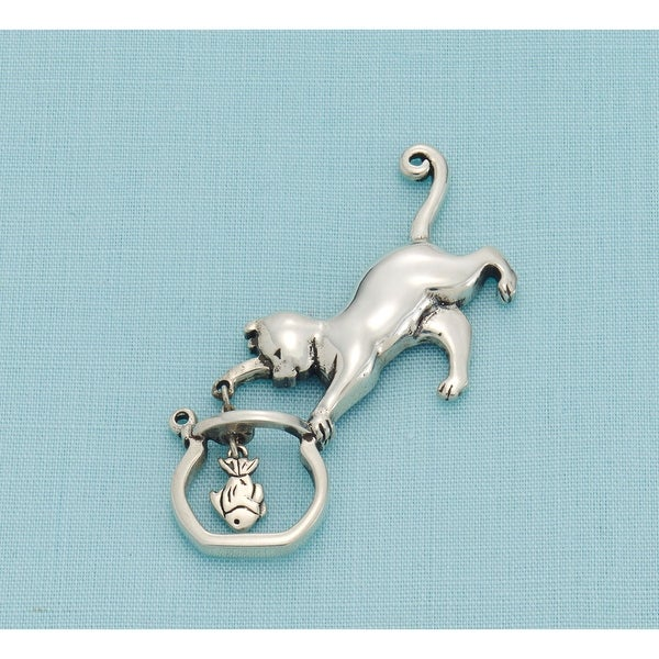 Women's Cat And Fishbowl - Sterling Silver Pendant Necklace Pin