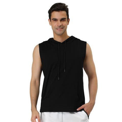 Men's Tank Tops with Hoods Gym Muscle Shirts Sleeveless Hoodie