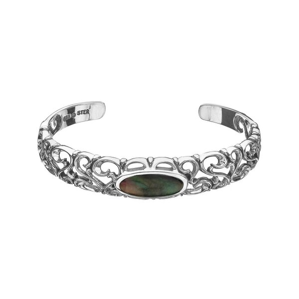 Kabana Black Natural Mother-of-Pearl Inlay Bangle Bracelet in Sterling Silver