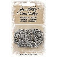 "Idea-Ology Metal Adornments 1.375"" 4/Pkg-Antique Nickel Wreaths"