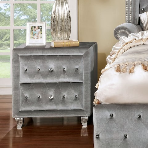 Silver Orchid Beyers Transitional Grey Upholstered Tufted Nightstand