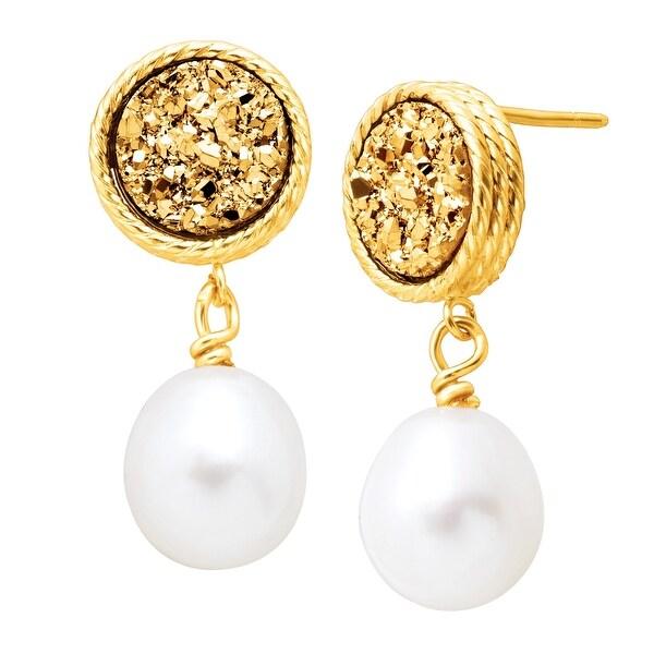 Honora Freshwater Oval Pearl & Golden Druzy Drop Earrings in 10K Gold