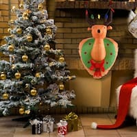 Costway 4Ft Airblown Inflatable Christmas Xmas Mounted Deer Head Gemmy Decor In/Outdoor