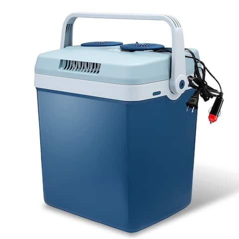 Knox Gear 34 Quart Electric Cooler/Warmer with Dual Power Cords (Blue)