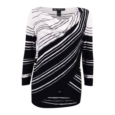 INC Inernational Concepts Women's Cowl Neck Layered Sweater - Deep Black