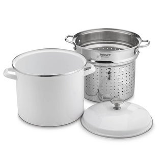 Cuisinart EOS126-28WSCP 3PC 12 Qt. Stockpot/Steaming Set W/Self-Draining Clip - White