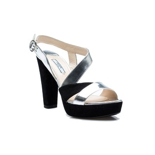 Prada Women's Black Silver High Heel Suede Shoes - 6