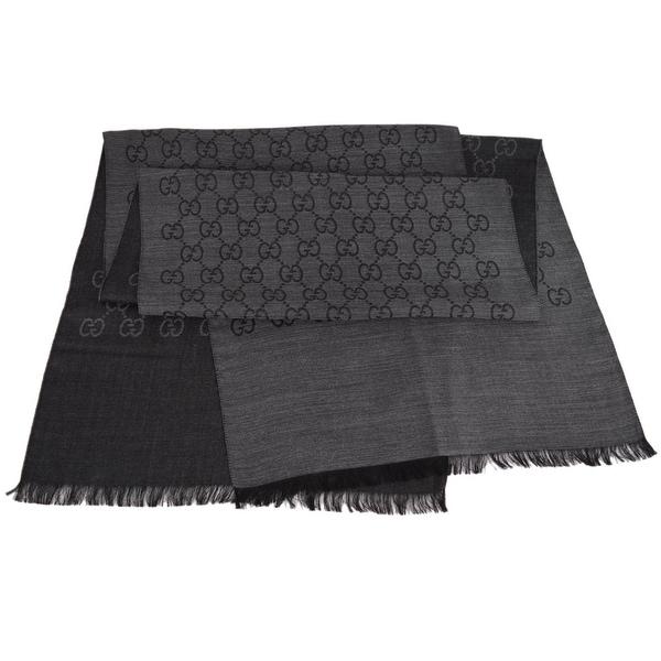Gucci Women's 165904 Charcoal Grey Wool Silk GG Guccissima Scarf Muffler