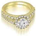 1.47 cttw. 14K Yellow Gold Antique Halo Round Cut Diamond Bridal Set - Thumbnail 0
