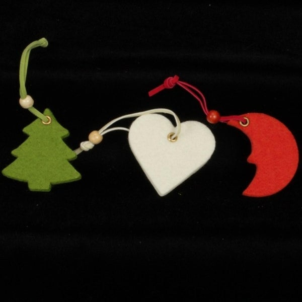 Club Pack of 42 Heart, Moon, and Tree Assorted Colors Felt Ornaments