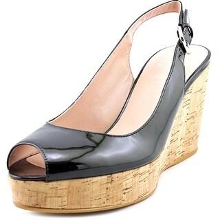 Stuart Weitzman Jean Open Toe Patent Leather Wedge Heel