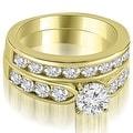2.70 cttw. 14K Yellow Gold Heavy Classic Channel Set Round Cut Diamond Bridal Set HI,SI1-2 - Thumbnail 0