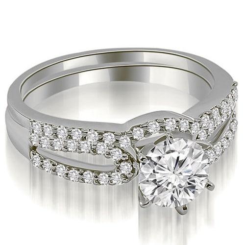 0.90 cttw. 14K White Gold Exquisite Split Shank Round Diamond Bridal Set