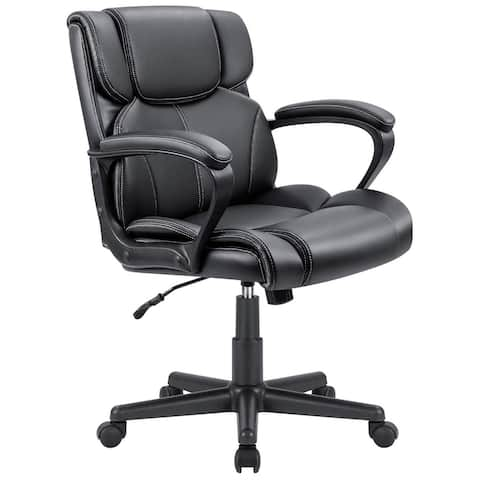 Homall Mid Back Office Chair Swivel Computer Task Chair with Armrest Ergonomic Leather Padded Executive Desk Chair