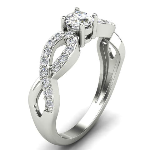 0.61 CT Twisted Prong- Set Round Cut Diamond Engagement Ring in 14KT