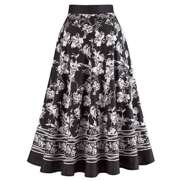 Women's Midi Skirt - Perfect Black And White Floral Print Circle Skirt