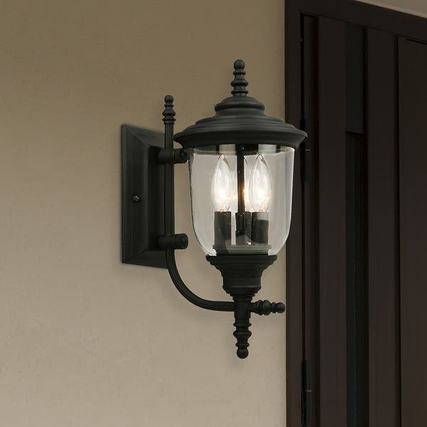 Eglo Pinedale 15 25 Inch Outdoor Wall Light With Matte Black Finish And Clear Seeded Glass Overstock 20931149