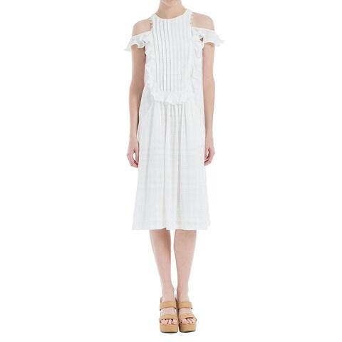 Max Studio Cotton Pleated Cold Shoulder Dress White